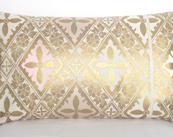 Luxury Decorative Pillow Cushion in Metallic Gold, Cream & Pink Geometric Floral design made from rare Vintage Japanese Obi Silk New Item