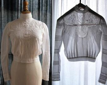 1900s Antique white blouse, long sleeves, pintucks, laces, Petite.