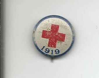 Antique 1919 Red Cross Pinback Pin Button