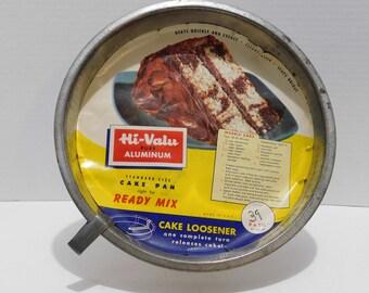 Vintage Hi-Valu Aluminum Cake Loosener Cake Pan With Original Paper Insert