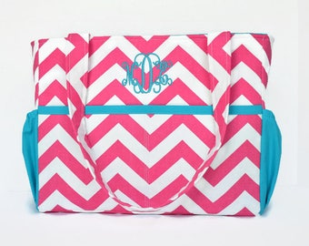 Personalized Chevron Diaper Bag in Pink and Turquoise Lining or Choose Your Own 12 Pockets Zipper Closure
