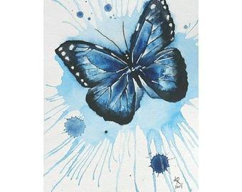 Blue Morpho Watercolor