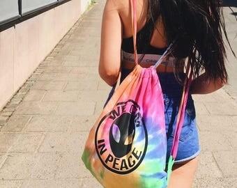 We Cum In Peace Drawstring Festival Rainbow Bag