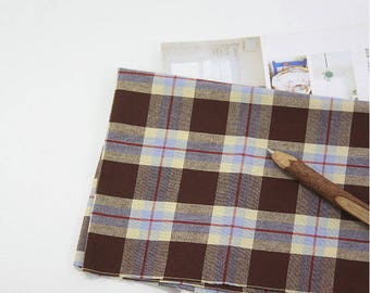 Brown Plaid Cotton Fabric - Yarn Dyed - Fabric By the Yard 97749-1