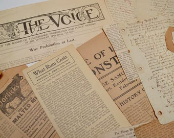 vintage ephemera pack: packet of antique papers / newspaper clippings / religious ephemera / leather wallet
