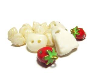 Strawberries n Cream, Beach Pottery Bead, Lake Michigan, Beachstone Button, Fishbone Button, Strawberry Enamel Charms, Fishgill Glass Beads