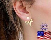 Geometric Earrings, Double Sided Earrings Double Sided Stud Earrings Two Sided Earrings Ear Jackets Front Back Earrings Double Back Earrings
