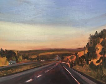 """Original Oil Painting, Landscape highway Painting, Canadian, Small Painting, 10"""" x 10"""" Painting, Oil on Birch Panel, Ready to Hang"""