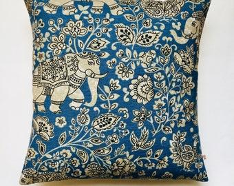 "Elephant cushion cover 16"" x 16"" indigo blue cotton elephant print Fryetts Indira fabric cushion pillow cover"