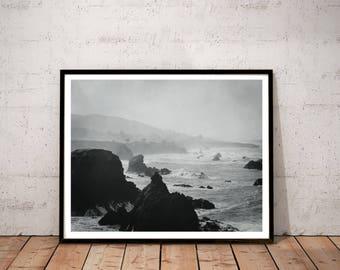 "black and white photography / nature mountain art print / California seascape decor / coastal large wall art / ""Rugged Sonoma Coast 2"""