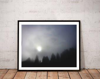 "landscape photography print / sun sky tree silhouette art print nature decor / blue grey black large wall art / ""foggy forest sunrise"""