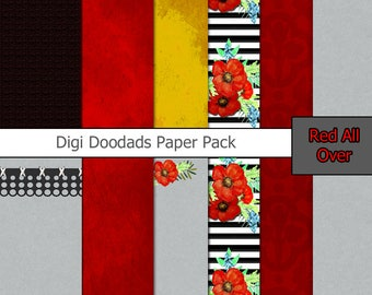 Printable Journal Kit Junk Journal Red Poppies 50 pieces