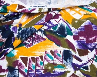 """2 Yards of 60"""" Vintage Cotton Polyester Knit Fabric. Abstract Design. Purples, Blues, Maroon, Green, Teal, Mustard, White.  Item 4210F"""