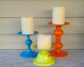 Metal Pillar Candle Holders - Bright Colors Set of 3 Table Top - Pop of Color