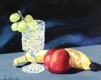"Fine Art 7 X 9 Original Still Life Oil Painting ""Goblet & Fruit"""