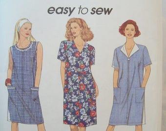 Front-Zipper, A-line Dress 1990s Simplicity Pattern 8409 Uncut Sizes 6-16