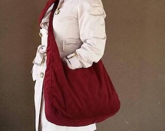 ON SALE Dark Red Sling Cross-body Bag Purse in Soft Velvet, Everyday Purse , Casual Velvet Bag, Marion