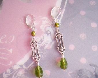 Art Nouveau silver green bohemain glass earrings lever back hooks Vertiline