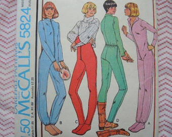 vintage 1970s McCalls sewing pattern 5824 misses one piece pajama for stretch knits only size 12