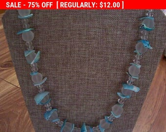 SALE Blue shell bib necklace, vintage necklace, bib necklace, statement necklace, estate jewelry