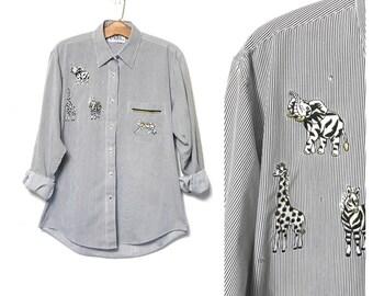 Vintage 80s Striped Shirt White and Black Striped Dress Shirt African Animals Elephant Giraffe Zebra Tiger Button Up Shirt Long Sleeve F