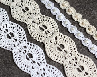 Two Crochet Patterns - Lace & Scalloped Crochet Headband - Instant Download