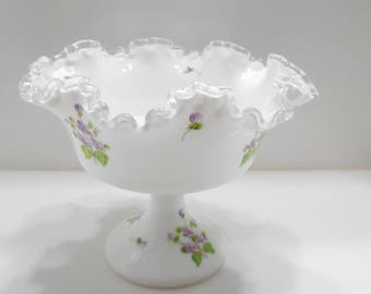 Vintage Unsigned Fenton Milk Glass, Silver Crest Violets In The Snow, Pedestal Candy Dish