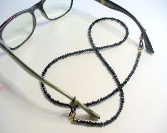 Black Beaded Eyeglass Holder, Eyeglass Chain, Black Sparkle Eyeglass Necklace Leash, Sunglass Chain, Eyeglass Lanyard, Reading Glasses Chain