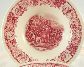 Vintage Homer Laughlin Historical America Red Transferware Ponce de Leon Soup Bowls Set of 4 Transferware Rare