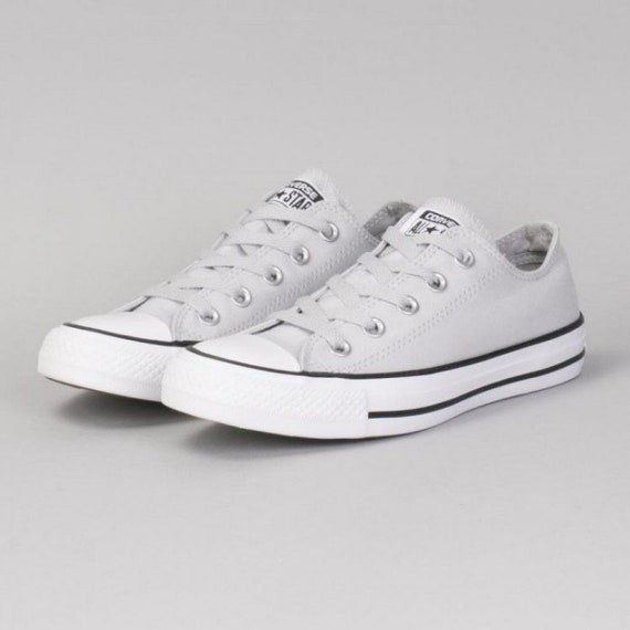 Gray Converse Cool Grey Mono Mouse Ash Low Top Canvas Custom Bling w/ Swarovski Crystal Rhinestone Jewel Chuck Taylor All Star Sneakers Shoe