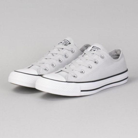 Gray Converse Cool Grey Mono Mouse Ash Low Top Canvas Custom Bling w/ Swarovski Crystal Rhinestone Jewel Chuck Taylor All Star Sneakers Shoe