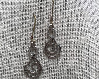 Textured Fine Silver and Brass Earrings