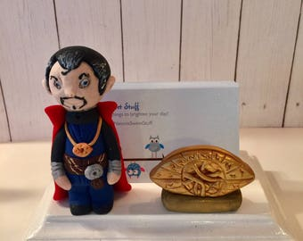 Polymer clay Dr. Strange business card holder, gift idea, Batman fan, collector, comic book owner, video game business owner,