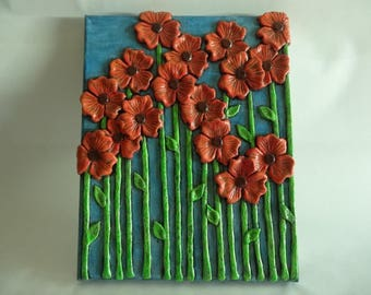 Mixed Media Art Piece with Handmade Red-Orange Clay Flowers / Paperclay Flower Art / Clay Flower Wall Painting