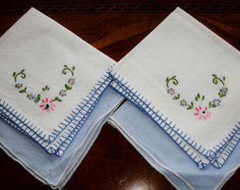 Napkins, tea napkins, mix and match napkins, French country napkins, high tea, Ladies lunch napkins, blue and white, Shabby chic vintage