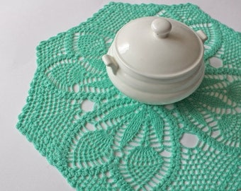 ON SALE Mint green linen lace doily, hand crochet table clothes, Easter center piece, Mothers day, home decoration by Fancyloops, Ready to s