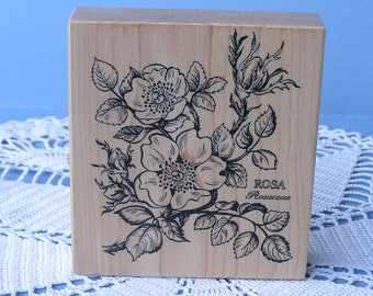 Vintage Flower Rubber Stamp . Rosa Rosaceae PSX K-036 1992 . Rose Stamp . Wood Mounted Stamp . Unused . Made in USA