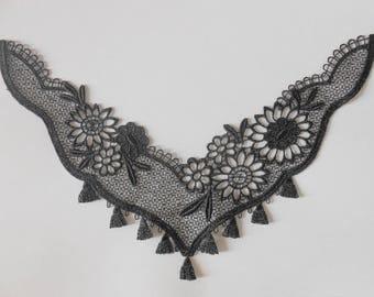 Applique lace black 23 cm long