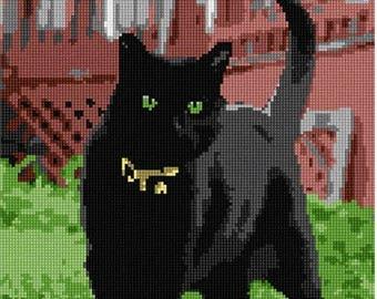 Needlepoint Kit or Canvas: Black Cat
