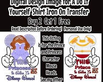Prince Princess Going To Disney Printable Iron on Transfer Mouse Head Shirt – DIY Disney Shirt Matching Family Shirts Minnie Ears