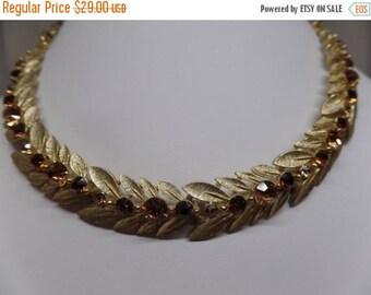 ON SALE LISNER Signed Vintage Topaz Crystal Leaf Necklace