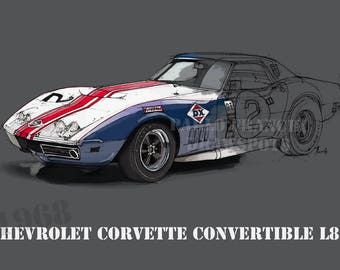 CHEVROLET CORVETTE CONVERTIBLE 8.62x12 in and bigger sizes,gift for men,teen bedroom decoration,office decoration,red and grey poster