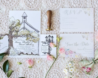 church Custom watercolour invitations wedding  l  watercolor  l  bespoke quirky stationery  l  modern calligraphy  l  whimsical watercolour