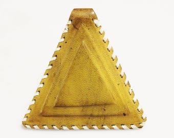 Yellow African Triangle Leather Pendant, Unique Jewelry Supplies, Mali Tuareg Pendant (AL270)