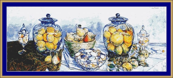 Long Island Pebbles And Fruit Cross Stitch Pattern /Digital PDF Files /Instant downloadable