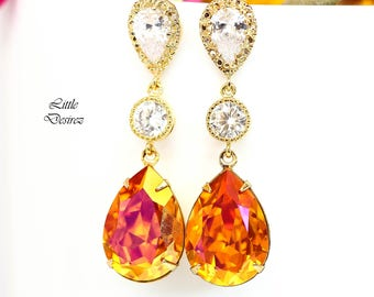 Astral Pink Swarovski Earrings Orange Earrings Gold Earrings Pink Earrings Dangle Earrings Tangerine Fuchsia Bridesmaid Gift Sparkly AP31PC