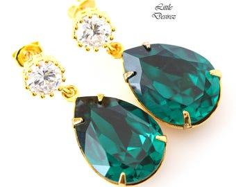 Emerald Post Earrings Green Earrings Swarovski Teardrop Crystal Emerald Green Jewelry Cubic Zirconia 16k Gold Plated Bridesmaid Gift EM31H