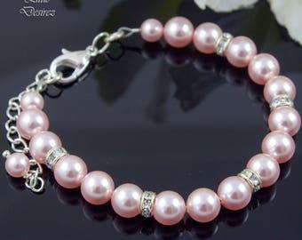 Bridal Pearl Bracelet Swarovski Bracelet Rhinestone Pearl Bracelet Pearl Crystal Bracelet Bridesmaid Bracelet Wedding Bracelet Pearl Strand
