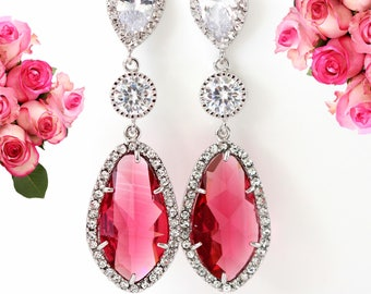 Ruby Teardrop Earrings Cubic Zirconia Bridal Earrings Ruby Pink Earrings Bridesmaid Gift Pink Earrings Wedding Jewelry Long Earrings RP40PC