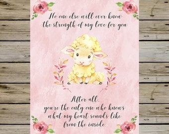 BEAUTIFUL Nursery Baby Lamb Wall Art, Pink Girl Nursery Room, Watercolor Lamb, No one else will ever know, Wall Decor